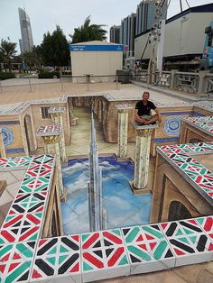 3D street painting at the Corniche in Abu Dhabi. Celebrating the 40th anniversary of the United Arabic Emirates (UAE). Design of this 3d street art by Leon Keer©. Creation by Leon Keer and Peter Westerink of Planet Streetpainting. The design was made  - more at www.streetart.nl #3d #streetart