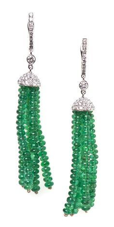 A Pair of 18 Karat White Gold, Emerald and Diamond Tassel Earrings,