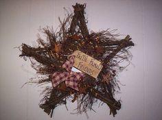 Primitive Grapevine Wreaths   Primitive Grapevine Star Wreath