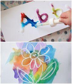 salt and glue painting, wax resist painting