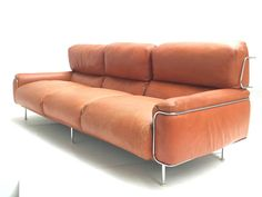 Rare Three-Seat Leather Sofa by Vittorio Introini for Saporiti, 1968, Published | From a unique collection of antique and modern sofas at https://www.1stdibs.com/furniture/seating/sofas/