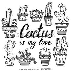 Vector hand drawn cactuses and succulents. Doodle floral in pots. Vector botanic… Vector hand drawn cactuses and succulents. Doodle floral in pots. Sketch of ink. Cactus is my love Cactus Doodle, Cactus Art, Paper Cactus, Doodle Sketch, Doodle Drawings, Happy Doodles, Botanical Line Drawing, Cactus Drawing, Flower Doodles