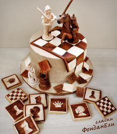 "Cookies ""Chess"" - cookie by FondanEli Cupcakes, Cupcake Cakes, Cakes For Men, Cakes And More, Cakepops, Chess Cake, B Recipe, Buy Cake, Pastry Art"