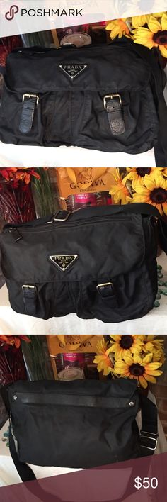 Cute Black Bag Sz 10x14- Good condition- Jet black- Adjustable 21' strap- Vinyl material- Clean bag- Can be worn as a Crossbody. No damage- Very nice bag. Bags Shoulder Bags