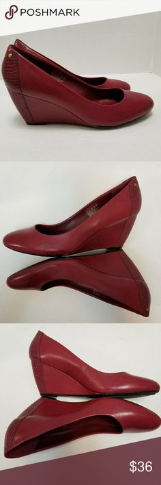 """Rockport Shoes 11M Adiprene Adidas Wedge Red Red leather women's wedge heels  Size 11 Heel height is 3 1/4""""  Great pre-owned condition with normal signs of wear like a few scratches.  The is a tiny spot on one of the toes. (See photos)  My home is smoke free and pet free. Rockport Shoes Wedges"""