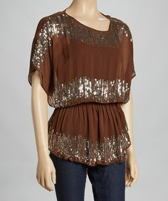 Brown Sequin Sheer Cape-Sleeve Top by Funky People #zulily #zulilyfinds