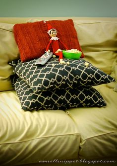 """I did something similar to this one but had the elf sitting on the couch with the music blaring (Christmas songs of course) and lights on after the kids got back from visiting their grandmother. The kids ran through the house yelling """"I told you he was real"""""""