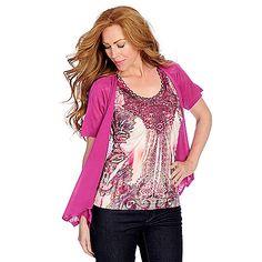 722-577 - One World Micro Jersey Knit Flutter Sleeved Embellished Top & Cardigan Set
