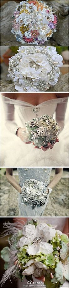 Add some bling to your wedding flowers by combining flowers and family pins!  www.weddingsbytanya.com