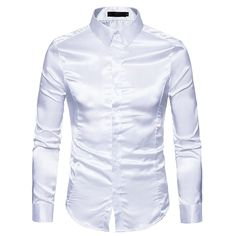 BrosWear Solid Color Shiny Long Sleeve Casual Dress Shirt Men Dress, Shirt Dress, Hip Hop, Tuxedo Dress, Satin Shirt, Collar Shirts, Casual Shirts For Men, Shirt Style, Fitness