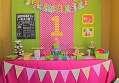 Lovely dessert table at a girl 1st birthday party! See more party ideas at CatchMyParty.com!