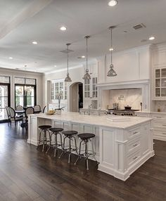 White Kitchen With Black Countertops Home Interior In