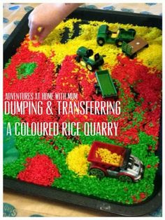 Adventures at home with Mum: A Coloured Rice Quarry - Pretend Construction