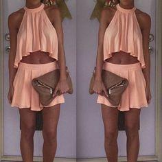 Mini Halter Chiffon Crop Top Short Skirt Two Piece Dress Suit