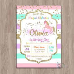 Unicornio cumpleaños invitación, invitación de unicornio, unicornio invita, 1er primer arco iris de oro brillo de niña cumpleaños fiesta digital imprimible