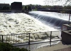 High water in the Rock River in Watertown Wisconsin in spring 2008.