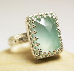 Aqua Chalcedony Ring Sterling Silver by TazziesCustomJewelry