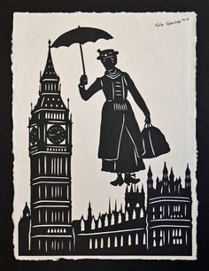 tinatarnoff -- in San Francisco, California - Mary Poppins - Hand-Cut Silhouette Papercut
