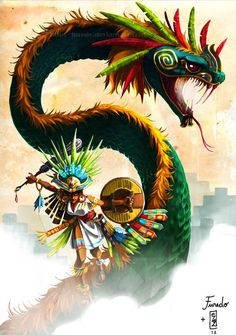 Quetzalcoatl: History And Mythology Of The Aztec 'Feathered Serpent' God Fantasy Creatures, Mythical Creatures, Quetzalcoatl Art, Feathered Serpent, Aztec Culture, Aztec Warrior, Mexico Art, Aztec Art, Chicano Art
