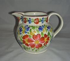 English Pearlware Polychrome Floral Jug w/ Overglaze Decoration, c. 1825-30
