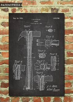 Hammer Art Print, Gift for Dad Gift for Fathers Day Gift Carpenter Gift Handyman Gift Man Cave Art Decor Garage Art Woodworking Poster P105