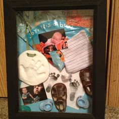 Shadow box I made for my baby boy Baby Box, Keepsakes, Shadow Box, New Baby Products, Boxes, Joy, Memories, How To Plan, Frame