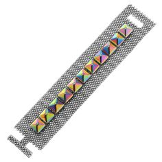 Free Peyote Stitch Beaded Bracelet Tutorial using Pyramid Beads Crystal Vitrail