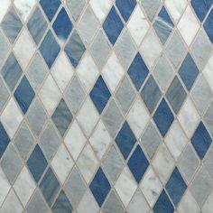 "Three Color Diamond Mixed Finish Mosaic  11-1/4"" X 11-3/4"" X 3/8""    Description:    Bardiglio/Azul Macaubas/Bianco Carrara Blend. Piece Size: 1-1/4"" 93Cm) Interlocking Sheet"