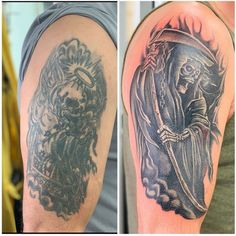 Cover Up Tattoos For Men, Black Tattoo Cover Up, Cover Tattoo, Tattoos For Guys, Body Modifications, Black Tattoos, Mulches, Body Mods, Tattoos For Men