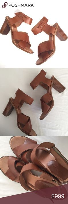 Madewell chunky heel sandals brown These are gorgeous tan chunky heels with adjustable ankle strap and solid wide heel for maximum balance. Normal light wear. One flaw (pictured): on one of the straps, the material is coming apart at the very top. This does not affect the wearability or strap usability. Not noticeable when wearing. These are perfect for any season! Madewell Shoes Heels