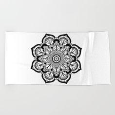Black and White Flower Bath Mat by azima Flower Frame, Art Object, Beach Towel, Framed Art Prints, Shower Mats, Bath Mats, White Flowers, Memory Foam, Tapestry