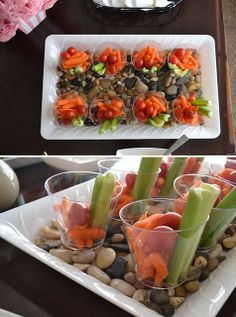 Appetizers for Spa theme shower - Primp and Pampered #bridalshowerideas