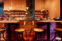 'Gewaagd proeflokaal' in Arnhem, The Netherlands. Interior design by Lenny Combé Design. Photography by Menno van der Meulen Flooring, Bar, Interior Design, Table, Netherlands, Furniture, Home Decor, Photography, Nest Design