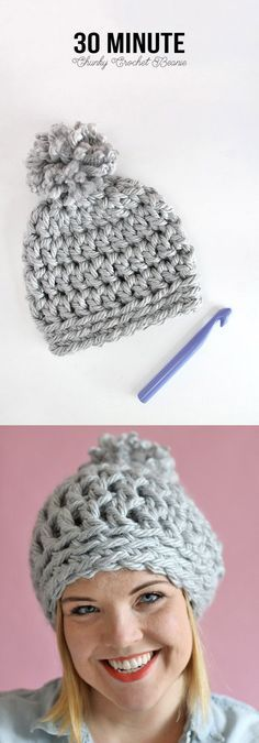 Easy Chunky Crochet Beanie - Take half an hour out of your day to stitch this up                                                                                                                                                                                 More