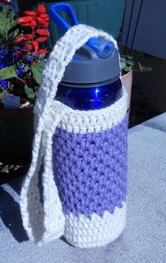 Crochet Water Bottle Holder  / Pouch   Ivory and by MyWindowSIL