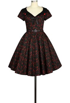 Retro 1950 Gothic Dress in Red and Black Print |Chic Star