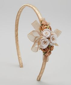 Look what I found on #zulily! Champagne Flower & Ribbon Headband by Kid's Dream #zulilyfinds
