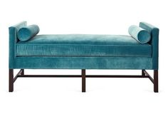 """Andrew Velvet Day Chaise, Calypso Blue Made of: frame, sustainably forested kiln-dried maple; upholstery, 80% polyester/20% cotton velvet; fill, spring bio-hybrid soy-based foam cushion Color: frame, dark walnut finish; upholstery, turquoise Care: Upholstery requires professional cleaning. Please note: Because this item is made to order, its estimated delivery date includes a longer lead time. Arm height: 29.5"""" Seat height: 21"""" Available Sizes: 71""""W x 29""""D x 30""""H 54""""W x 20""""D x 30""""H"""