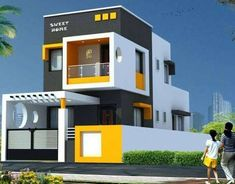The exterior is the face of the house that everyone will see in the first part. Take a look at the world's most beautiful modern homes and find House Front Wall Design, Single Floor House Design, Modern House Design, Building Elevation, House Elevation, Dog House For Sale, Beautiful Modern Homes, Front Elevation Designs, Two Storey House