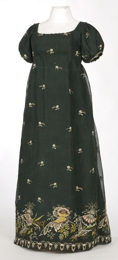 Early 19th century dress made with embroidered black net.
