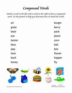 Second Grade Vocabulary Grammar Worksheets: Make Compound Words