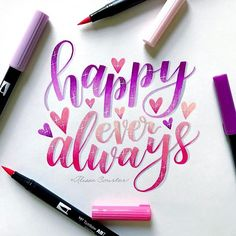 Happy ever always💜💖 for with and 💖 Watercolor Calligraphy Quotes, Calligraphy Quotes Doodles, Brush Lettering Quotes, Brush Pen Calligraphy, Hand Lettering Tutorial, Hand Lettering Quotes, Doodle Lettering, Creative Lettering, Types Of Lettering