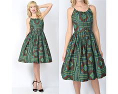 Vtg 60s Green Ethnic Party Dress Cocktail Pleated Mad Men Full Geometric XS S