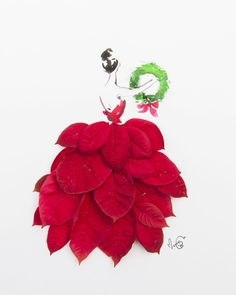 Bright red poinsettia dress for Christmas. #instaartmovement