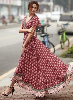 Floral V-Neckline Short Sleeve Maxi A-line Dress - Floryday @ floryday.com