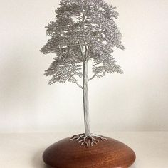 CM162 stands 280mm tall and is mounted on a Sapele wood base. #wire #tree #sculpture #unique #handmade #art #craft #wood #gift #woodland #forest #nature #artmagazine #wireart #wireartist #bonsai #sculptor #original #oak #natural  www.wirewood.co.uk
