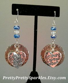 Items similar to Serenity prayer earrings, recovery jewelry, latching earrings, nickel lead free on Etsy Serenity Prayer, Lead Free, Recovery, Prayers, Place Card Holders, Unique Jewelry, Handmade Gifts, Jewellery, Crystals