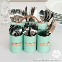 Como fazer um porta talheres, porta lápis, porta ferramentas com latas, madeira e couro - Dicas e passo a passo com fotos -  reciclagem - re...