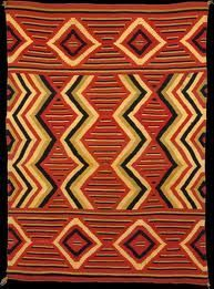 Wearing Blanket. Wool, Arizona/New Mexico, USA, c. 1860-1870, 69 x 48 in. Navajo woven blanket featuring strongly colored yarn and a vibrant pattern. The Metropolitan Museum of Art.