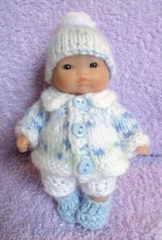 """Hand knitted Dolls Clothes for 5"""" Berenguer Doll (#147) 
